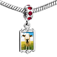 Charms Beads - red crystal dangle sheep face Image.