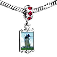 Charms Beads - red crystal dangle old new windmill Image.