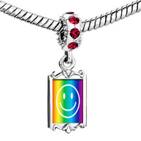 Charms Beads - red crystal dangle rainbow happy face Image.