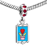 Charms Beads - red crystal dangle heart plant Image.