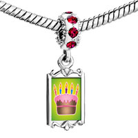 Charms Beads - red crystal dangle cake pink frosting Image.