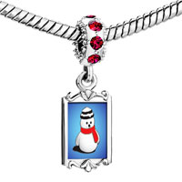 Charms Beads - red crystal dangle snowman scarf Image.