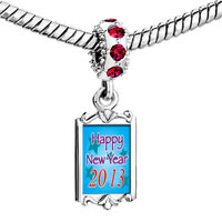 Charms Beads - red crystal dangle happy new year 2013  blue Image.