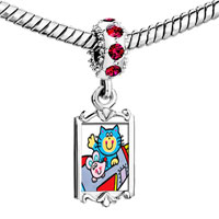 Charms Beads - red crystal dangle cat mouse cartoon Image.