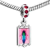 Charms Beads - red crystal dangle florescent bug Image.