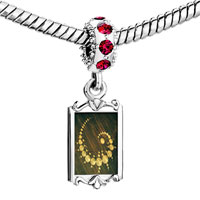 Charms Beads - red crystal dangle alien crop circles Image.