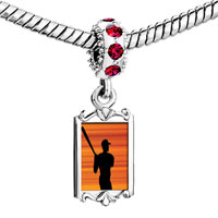 Charms Beads - red crystal dangle baseball player silhouette Image.