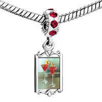 Charms Beads - red crystal dangle tropical martini Image.