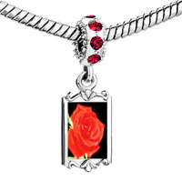 Charms Beads - red crystal dangle rose Image.