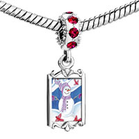 Charms Beads - red crystal dangle snowman birds Image.