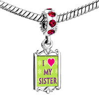 Charms Beads - red crystal dangle i heart my sister Image.