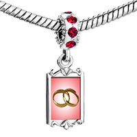 Charms Beads - red crystal dangle wedding rings pink golden Image.