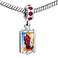 Charms Beads - red crystal dangle vase flowers Image.
