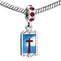 Charms Beads - red crystal dangle wooden cross Image.