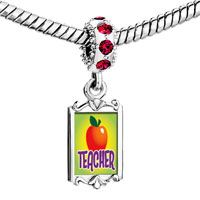 Charms Beads - red crystal dangle teacher apple Image.