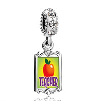 Clear Crystal Dangle Teacher Apple
