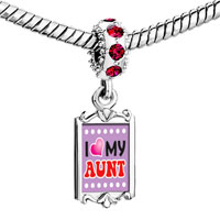 Charms Beads - red crystal dangle i heart my aunt Image.