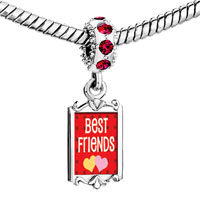 Charms Beads - red crystal dangle best friends Image.