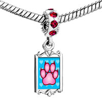 Charms Beads - red crystal dangle pink paw print Image.