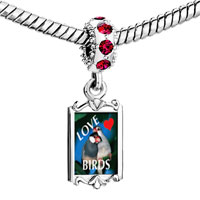 Charms Beads - red crystal dangle love birds blue Image.