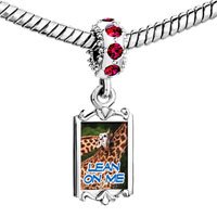 Charms Beads - red crystal dangle lean on me animals Image.