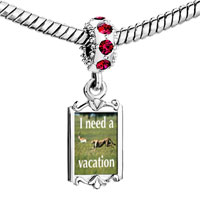 Charms Beads - red crystal dangle i need a vacation Image.