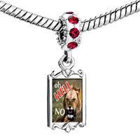Charms Beads - red crystal dangle oh hell no lion Image.