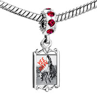 Charms Beads - red crystal dangle yee haw cowboy Image.