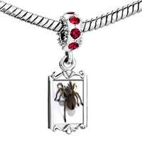 Charms Beads - red crystal dangle deadly spider Image.