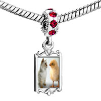 Charms Beads - red crystal dangle chick kitten Image.