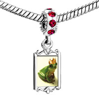 Charms Beads - red crystal dangle frog prince Image.