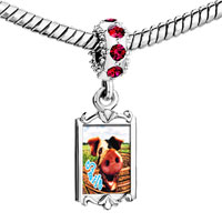 Charms Beads - red crystal dangle smile pig Image.