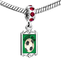 Charms Beads - red crystal dangle soccer mom Image.