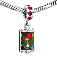 Charms Beads - red crystal dangle santa wreath Image.