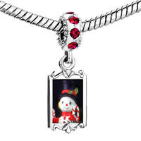 Charms Beads - red crystal dangle snowman figurine Image.
