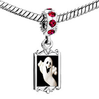 Charms Beads - red crystal dangle halloween ghost Image.