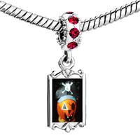 Charms Beads - red crystal dangle jack o lantern halloween pumpkin pirate Image.