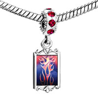 Charms Beads - red crystal dangle painted fire flames Image.