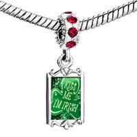 Charms Beads - red crystal dangle kiss me i' m irish Image.