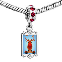Charms Beads - round with red crystal dangle rectangle frame euro Image.