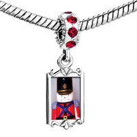 Charms Beads - red crystal dangle soldier boy Image.