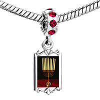 Charms Beads - red crystal dangle family menorah Image.