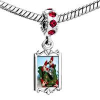 Charms Beads - red crystal dangle santas on sleigh Image.
