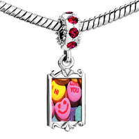 Charms Beads - red crystal dangle valentine heart cy Image.