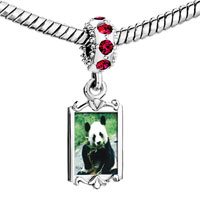 Charms Beads - red crystal dangle pa bear Image.