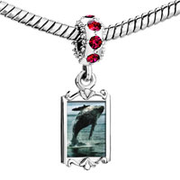 Charms Beads - red crystal dangle humpback whale over ocean Image.