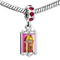 Charms Beads - red crystal dangle rock ' n'  roll jukebox Image.