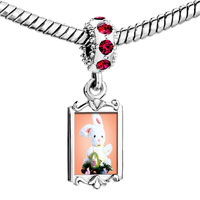 Charms Beads - red crystal dangle easter bunny egg Image.