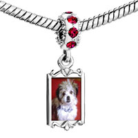 Charms Beads - red crystal dangle little terrier Image.