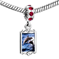 Charms Beads - red crystal dangle dolphin family Image.